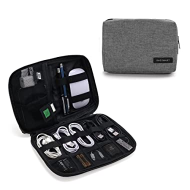 BAGSMART Electronic Organizer Small Travel Cable Organizer Bag for Hard Drives, Cables, USB, SD Card Grey