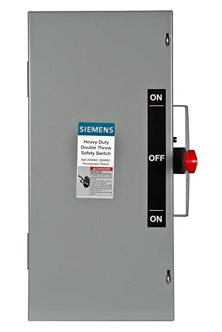Siemens DTNF322 60-Amp 3 Pole 240-volt 3 Wire Non-Fused Double Throw ...