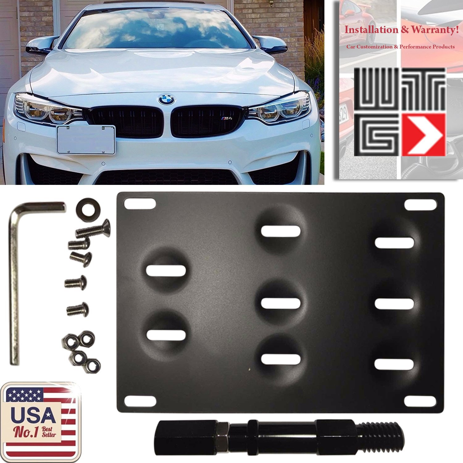 WTG Front Bumper Tow Hook Hole Adapter License Plate Mounting Bracket BMW F-Series//F22//F30//F31//F32//F33//F36//F10//F11//F07//F25//F26//X3//X4//Z4//i3//2 3 4 5 Series