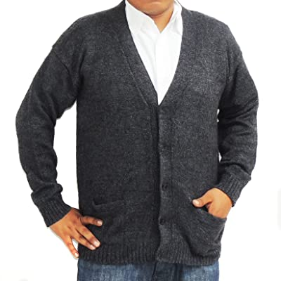 ALPACA CARDIGAN GOLF SWEATER JERSEY V neck buttons and Pockets made in PERU CHARCOAL GREY at Men's Clothing store