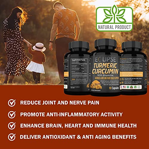 2-Pack Turmeric Curcumin with BioPerine – 95 Curcuminoids – Advanced Absorption for Cardiovascular Health Joint Support – 180 Capsules – All Natural Non-GMO – Made in The USA – by Eclipse
