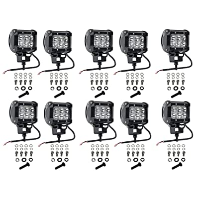 Cutequeen 10 X 18w 1800 Lumens Cree LED Spot Light for Off-road Rv Atv SUV Boat 4x4 Jeep Lamp Tractor Marine Off-road Lighting (pack of 10): Automotive