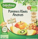 Blédina 100% Fruits Pommes Kiwis Ananas en Coupelle dès 8 Mois 4x100 g - Lot de 6