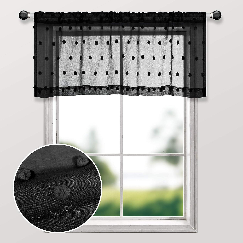 Amazon Com Black Valances For Living Room Rod Pocket Pom Pom Textured Lace Elegant Sheer Valances For Windows Bedroom Kitchen Bathroom Kitchen Dining