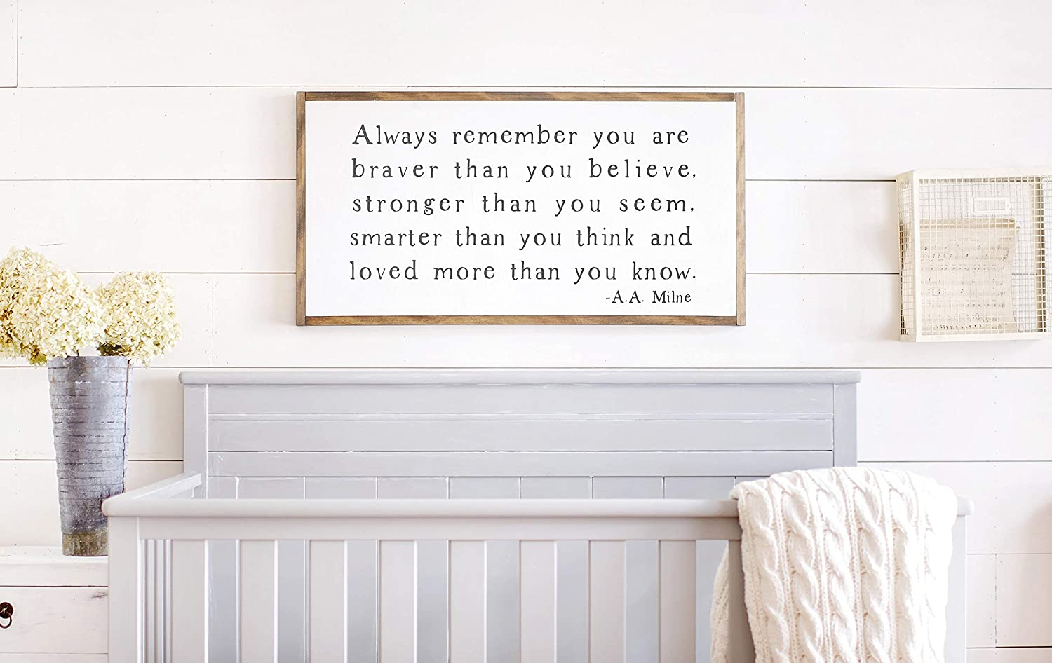 EricauBird Wood Sign-You are Stronger Than You Think Sign,You are Stronger Than You Think,Nursery Signs,Inspirational Sign Framed Wood Signs, Home Wall Art, 12x22