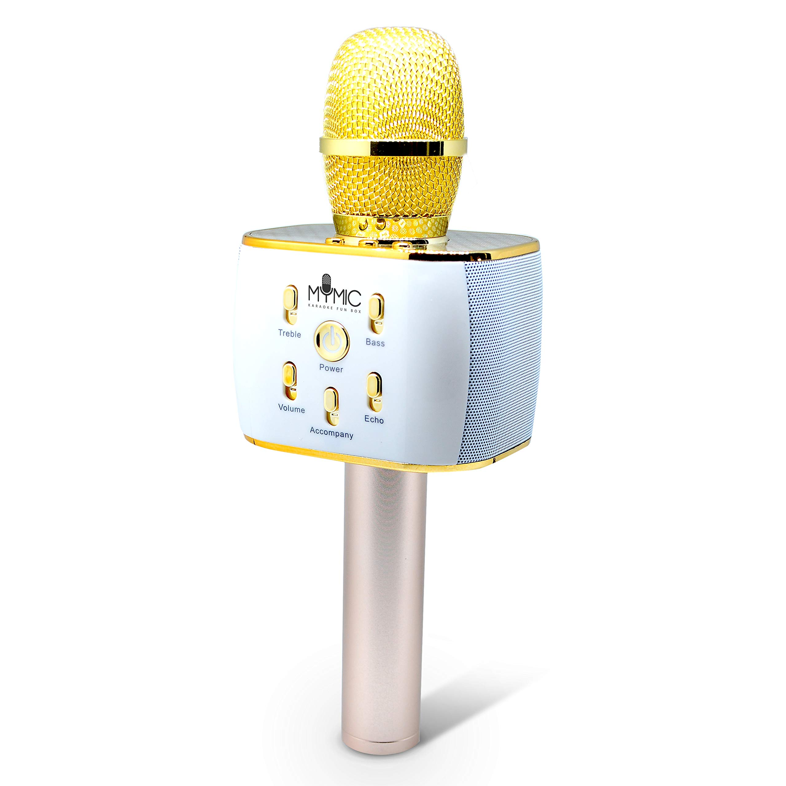 Wireless Bluetooth Karaoke Microphone, 3-in-1 Portable Handheld Karaoke Mic Home Party Birthday Gift Speaker Machine. For iPhone/iPad/Android/iOS/All Smartphone Devices (Gold)