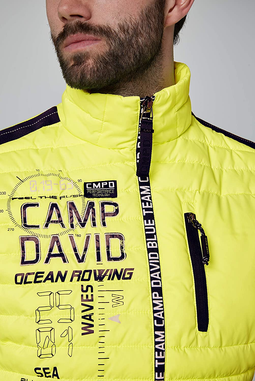 Camp David Herren Nylonweste mit Logozipper und Artwork