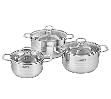 CONCORD 6 Piece Stainless Steel Cookware Set Induction Compatible