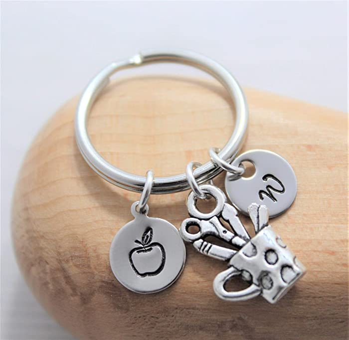 Personalized Teacher Gift - Teacher Appreciation Keychain - Teacher Apple Jewelry - Custom Initial