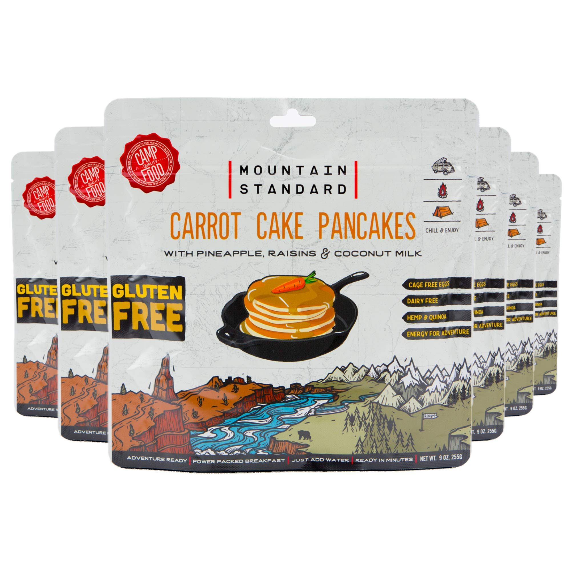 Carrot Cake Pancake Mix with Pineapple, Rasins & Coconut Milk, Gluten Free, Just Add Water, 22 Plant Based Proteins/Serving, 9 oz/pouch, 6 Count by Mountain Standard Foods