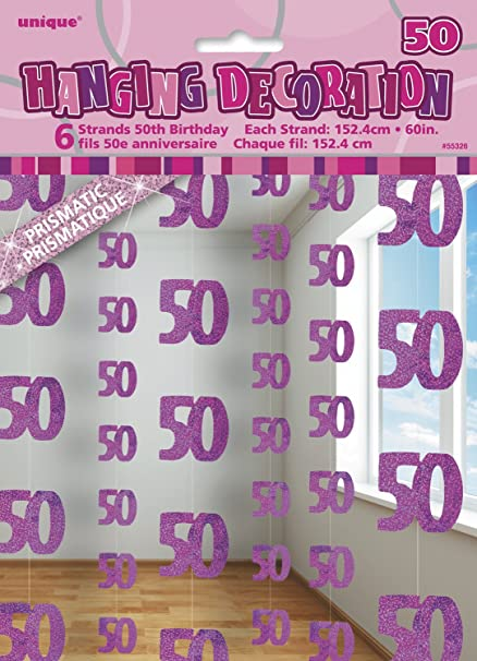 Amazon 5ft Hanging Glitz Pink 50th Birthday Decorations Pack