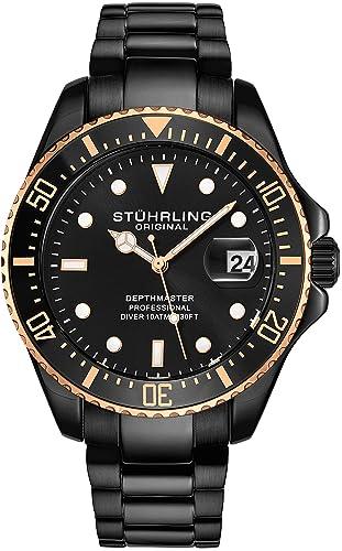Stuhrling - Reloj de Buceo para Hombre, diseño de Buceo Deportivo con Corona de Rosca y Resistente al Agua hasta 100 m, Esfera analógica, Movimiento de ...