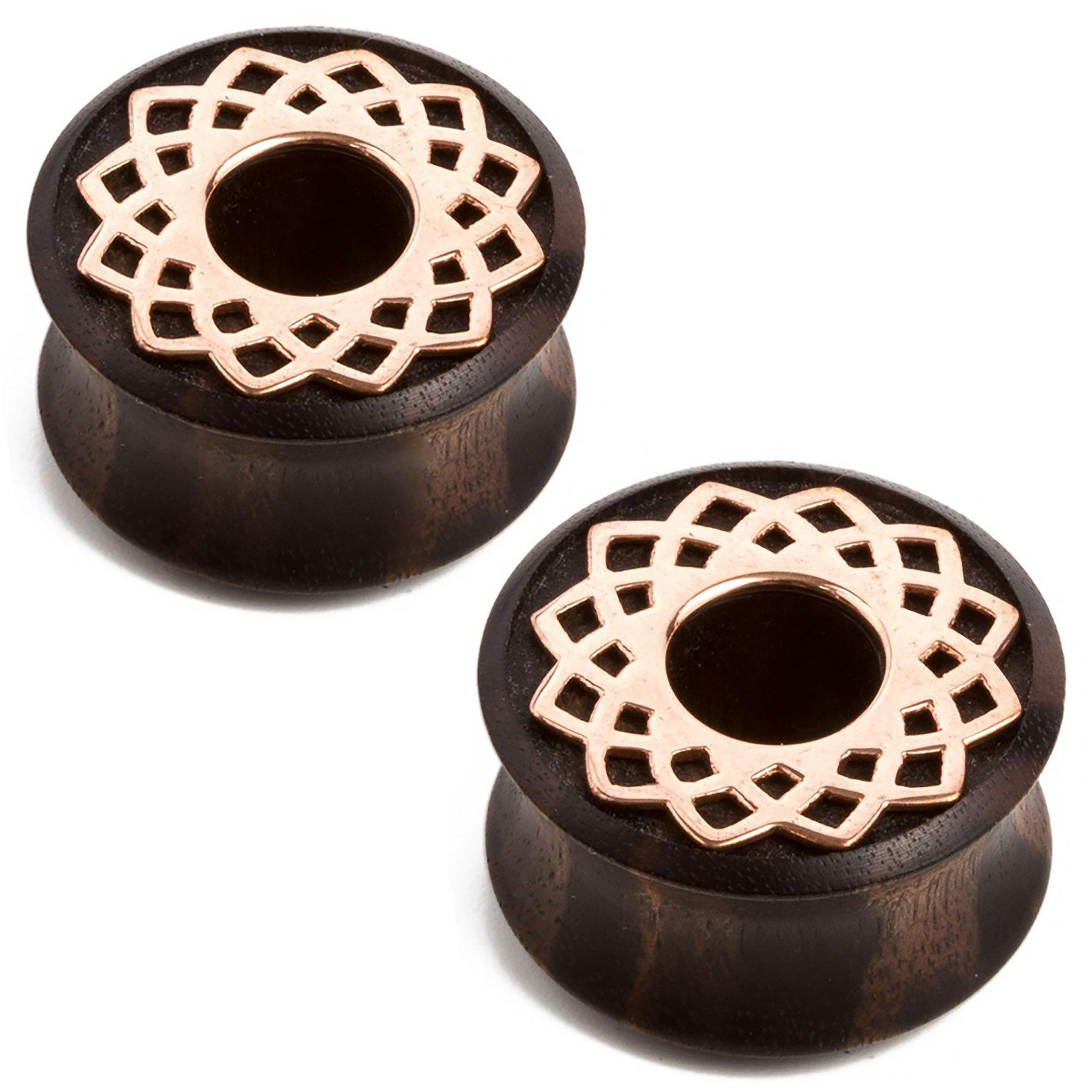 Steel Navel Body Jewelry Pair of Double Flared Ebony Eyelets with Copper Mandala Inlay: 1-3/8''
