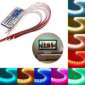Tira LED Luz, Savvypixel USB Tiras LED 4 * 50cm 5050 RGB TV Ambiente de Iluminación +Mini Mando Control Remoto de 44 Botones: Amazon.es: Bricolaje y herramientas