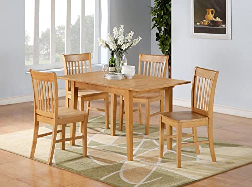 East West Furniture 5PC Rectangular Kitchen Dinette Set Table 4Chairs