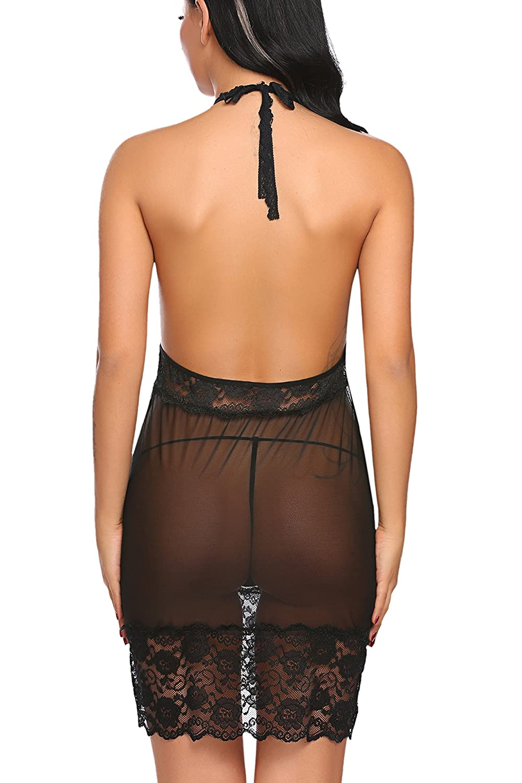 Avidlove Women Lingerie Halter Chemise Lace Babydoll Backless Sleepwear