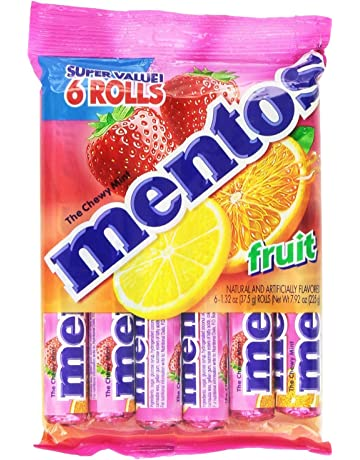 Mentos Chewy Mint Candy Roll, Fruit, Non Melting, 1.32 ounce/14 Pieces