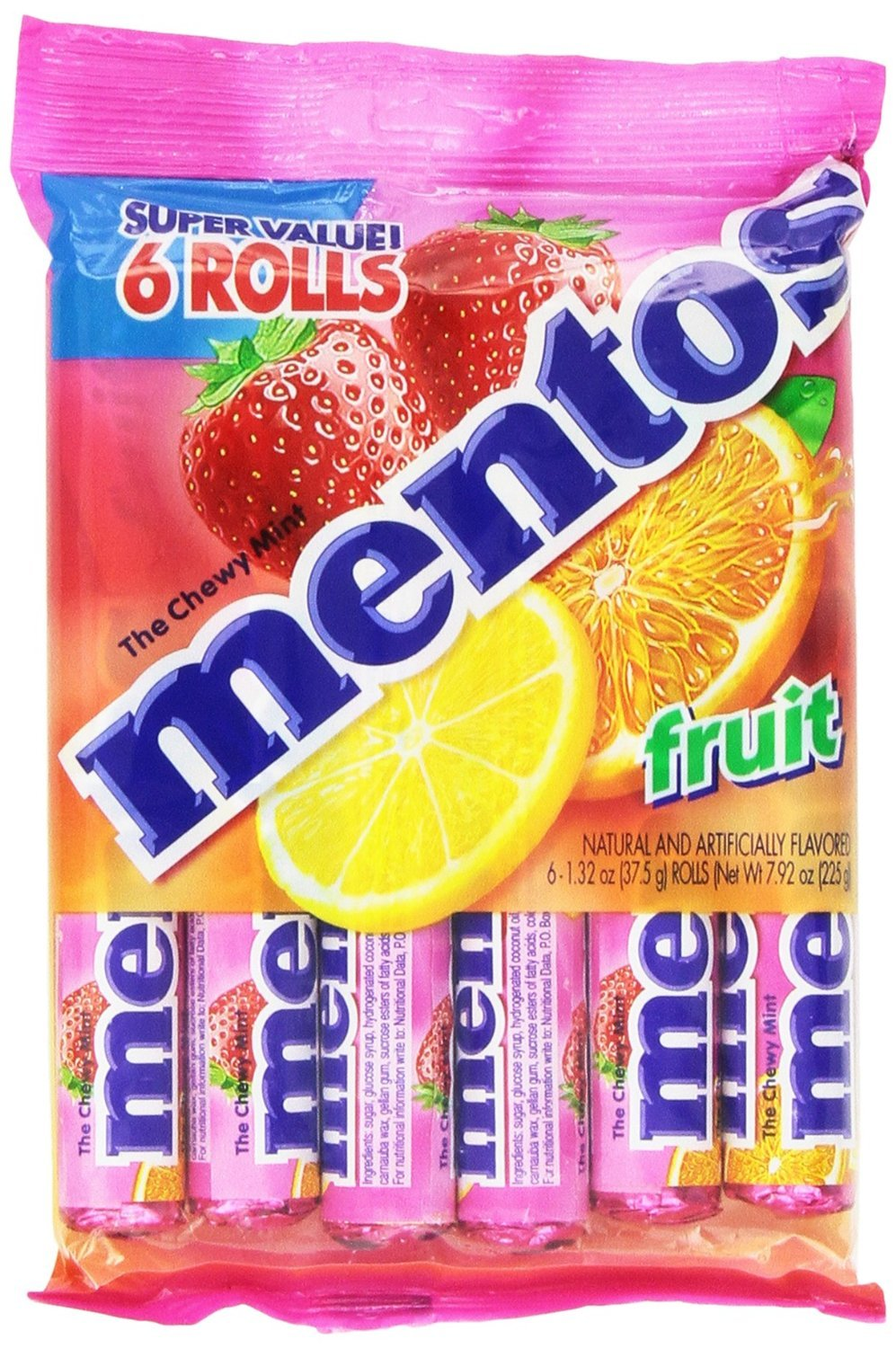 Mentos Chewy Mint Candy Roll, Fruit, 1.32 ounce/14 Pieces (Pack of 6)