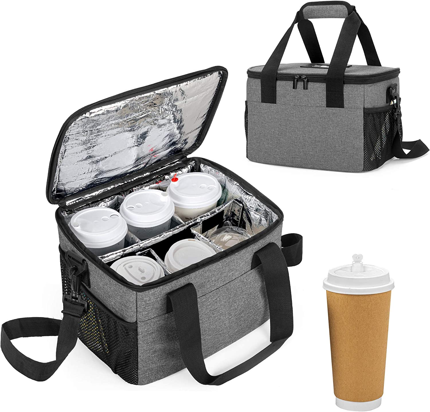 Trunab Reusable 6 Cups Drink Carrier for Delivery Insulated Drink Caddy with Handle and Shoulder Strap, Adjustable Dividers, Beverages Carrier Tote Bag, for Daily Life Takeout, Outdoors, Travel, Grey