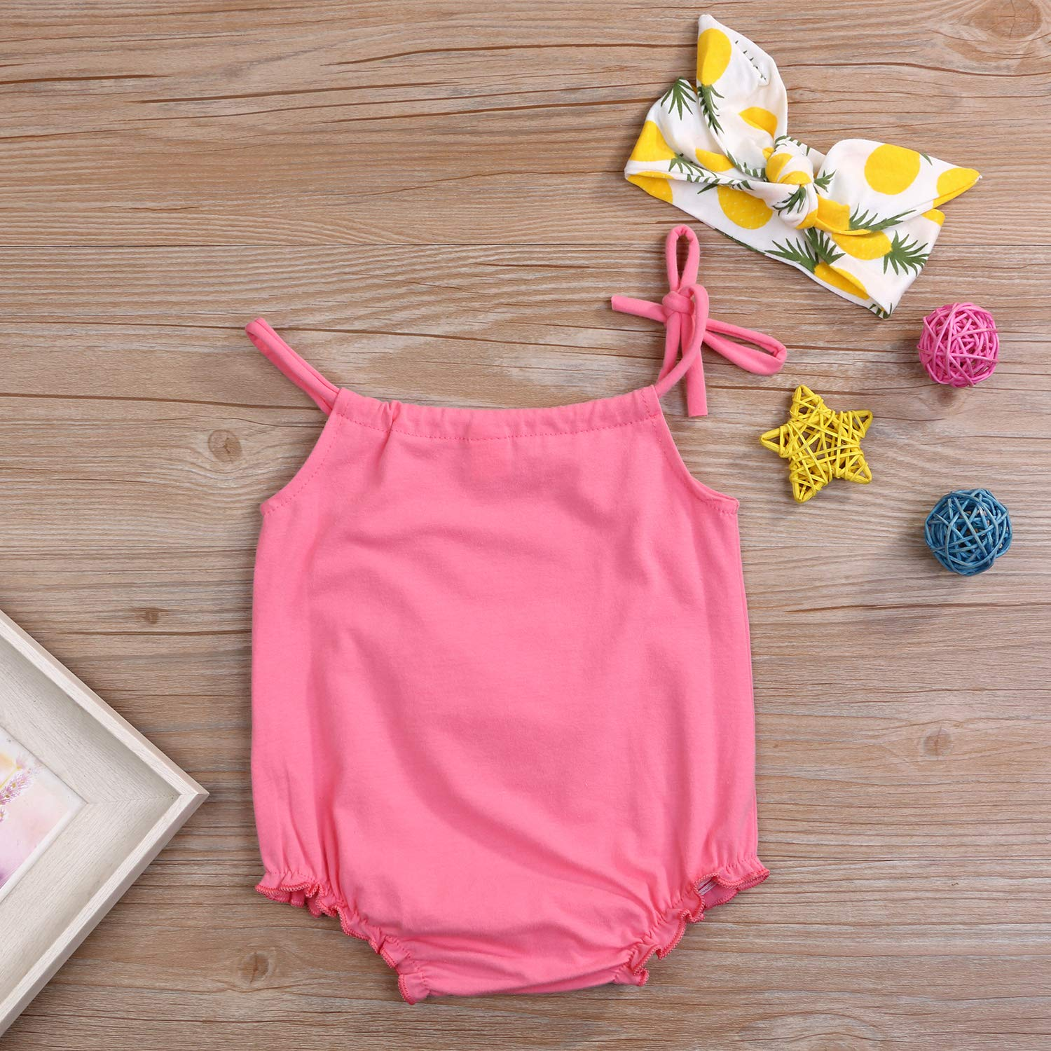 YOUNGER TREE Toddler Baby Girl Romper Pineapple Outfits Cotton Sleeveless Strap Romper Headband Summer Clothes 2PCS