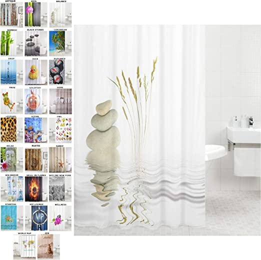 Top Quality Bathroom Shower Curtain with Ring Hooks 180 x 180 cm Various Design