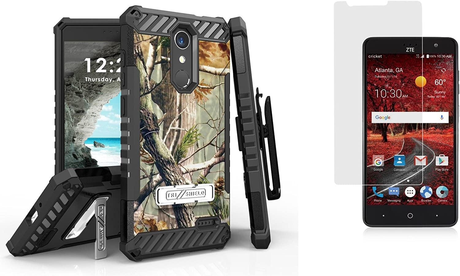 Outdoor Camo ZTE Grand X 4 Z956 with Tempered Glass Screen Protector Beyond Cell Case Bundle Compatible with ZTE Blade Spark Z971 Tri-Shield Military Grade Belt Holster Case ZTE ZMAX One Z719DL