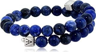 product image for Alex and Ani Men's Beaded Sodalite Gemstone Wrap Bracelet, Sodalite/Rafaelian Silver, Expandable