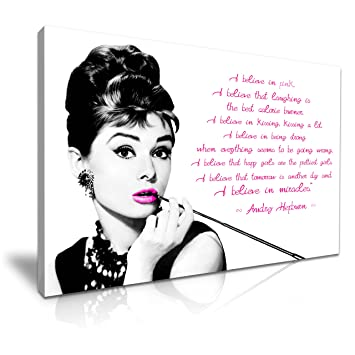 Kunstdruck Auf Leinwand Audrey Hepburn Zitat I Believe In Pink