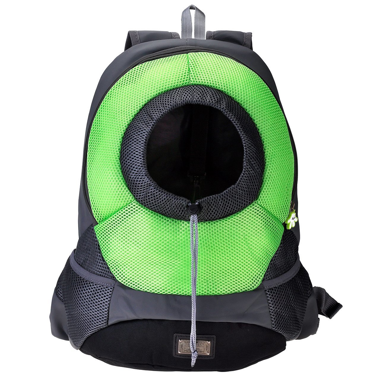 Yoption Portable Puppy Cat Travel Front Backpack, Breathable Mesh Head out Design Padded Adjustable Double Shoulder Straps Outdoor Pet Bag (S, Green)