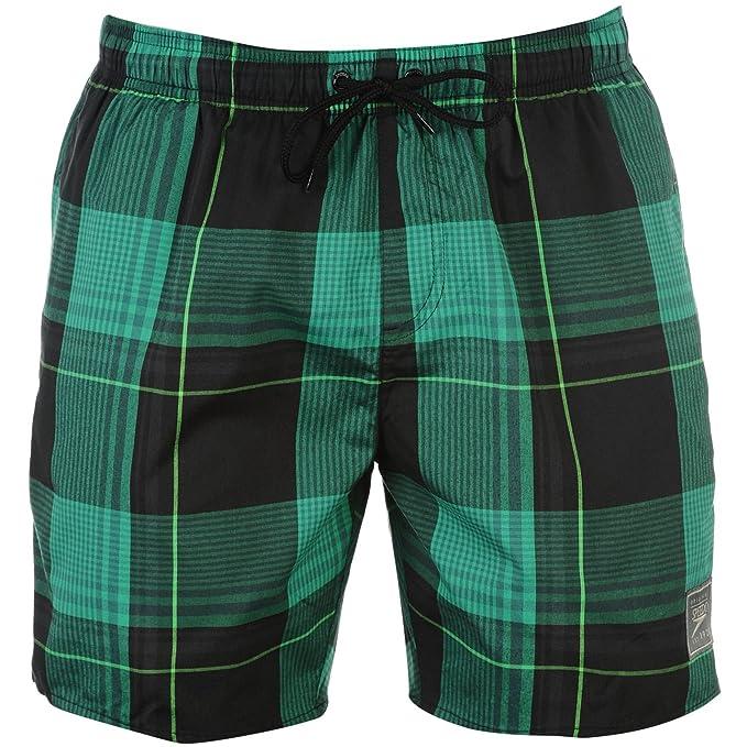 c8bc9989b80d Speedo Uomo a Quadri Costume da Bagno Shorts Pantaloncini Abbigliamento da  Nuoto Nero/Verde 36
