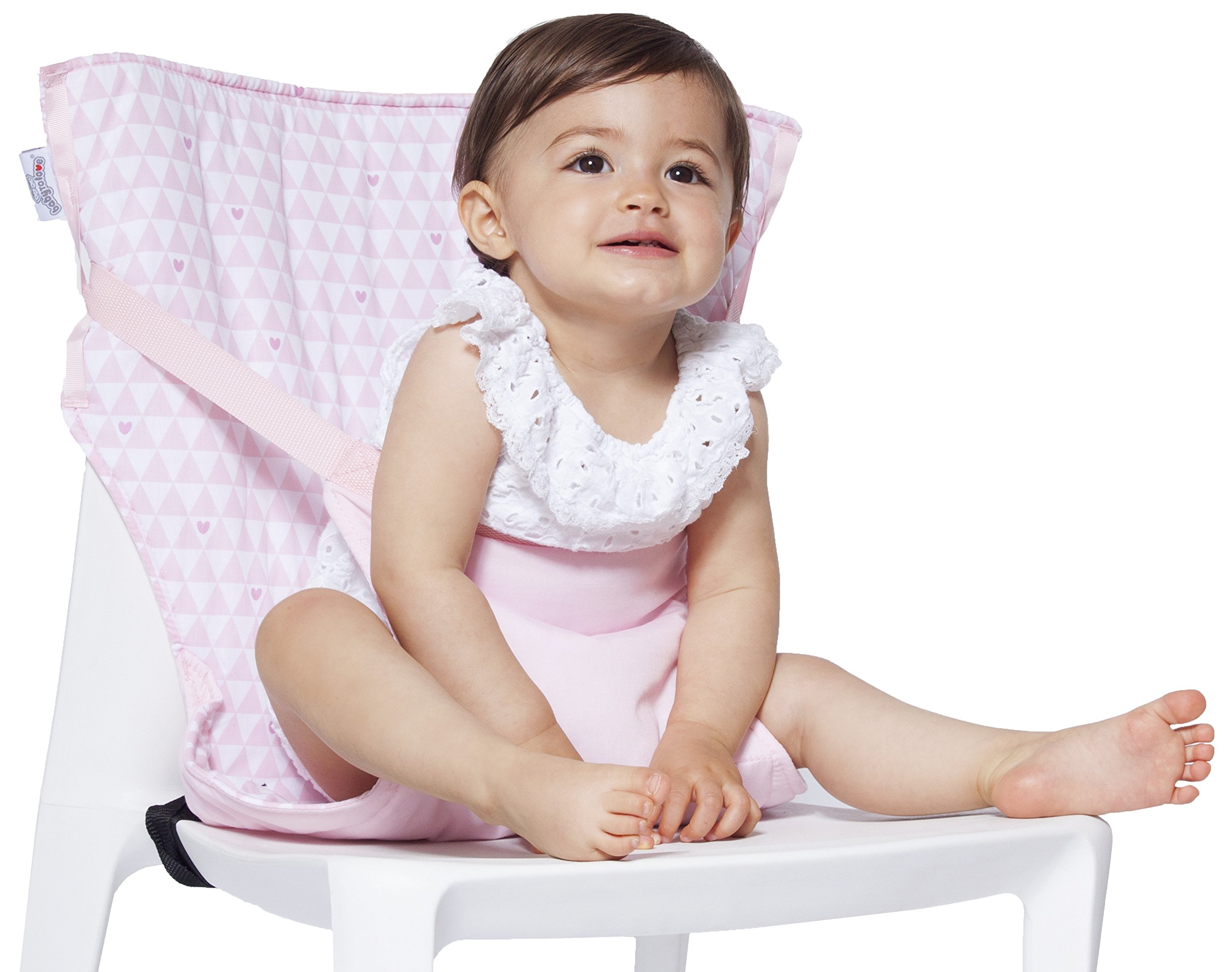 Baby-to-Love Pocket Chair, Baby Portable High Chair for Travel (Pink Hearts)