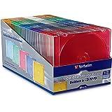 Verbatim CD/DVD Slim Jewel Cases (0.21 inches) - Assorted Colors - 50 pack