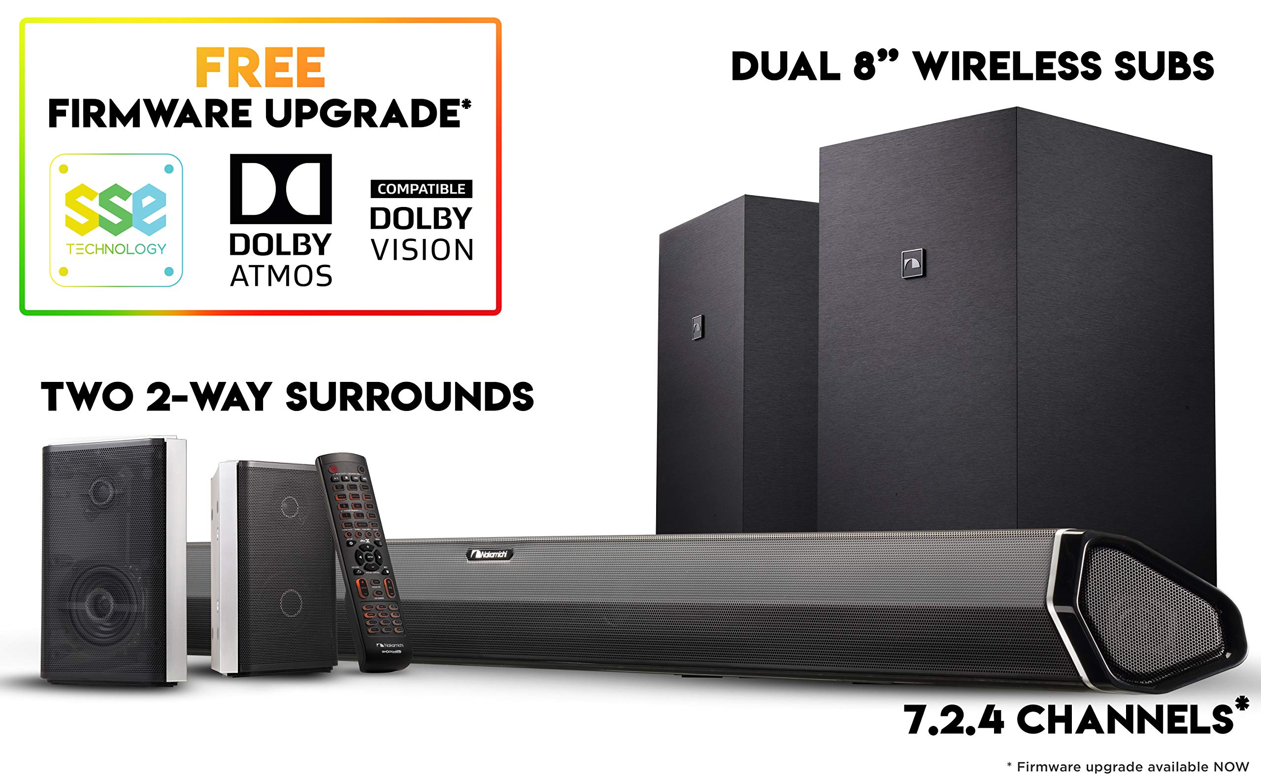 Nakamichi Shockwafe Elite 7.2Ch DTS:X 800W 45-Inch Sound Bar System with Dual 8'' Subwoofers (Wireless) & 2-Way Rear Surround Speakers