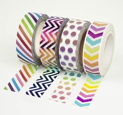 Fysless Ultra Strong 10 st/ück 4m Packband Klebeband Paketklebeband,Aufkleber Rainbow Tape Handwerk Paper Band Schreibwaren Geschenk DIY Scrapbooking Klebeband