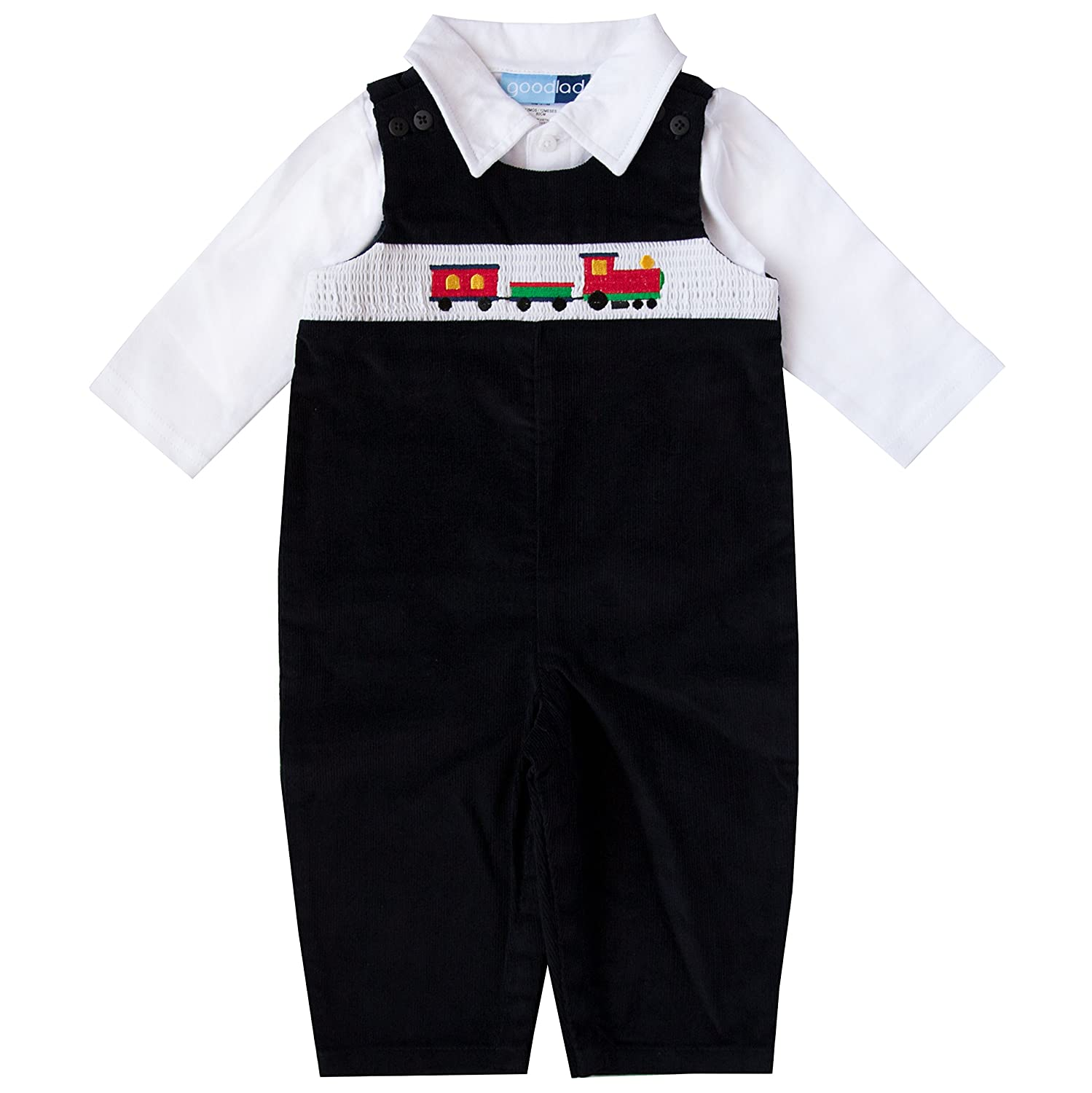 Good Lad Newborn/Infant Boy Black Corduroy Overall Set with Train Smocking