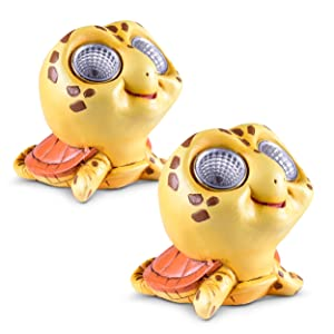 Garden Turtle Decorations | Solar Light Figurines | Decorative Home, Outdoor, Yard, Patio, Lawn Statue | Auto On/Off Sensor | Great Turtle Gift Idea (Yellow, 2 Pack)
