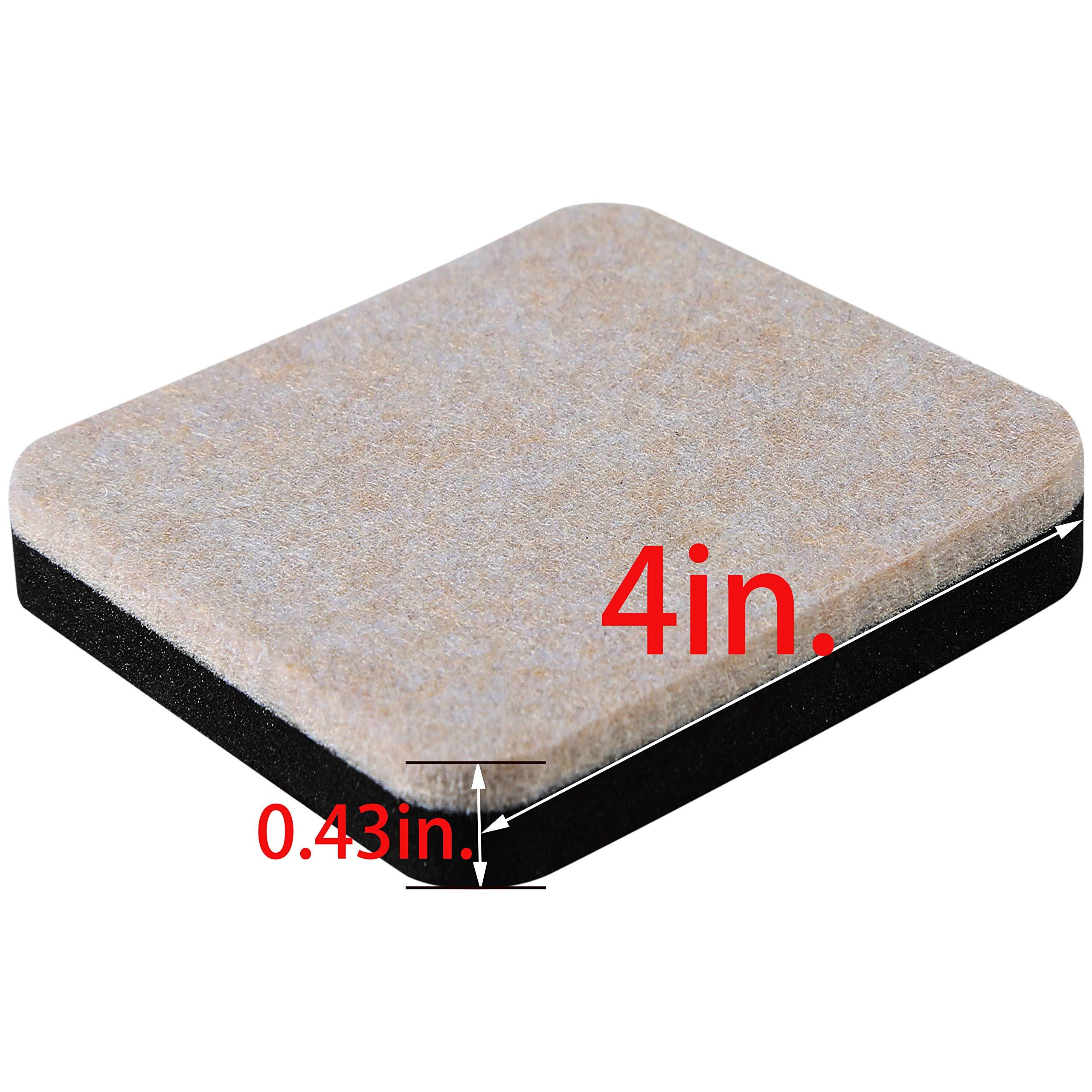Liyic 4in.Square 16 Pack Felt Sliders for Hard Surfaces-Felt Furniture Sliders - Heavy Duty Sliders - Reusable Hardwood Floor Sliders -Furniture Moving Sliders-Sofa Sliders Gliders Glides Movers by Liyic (Image #2)