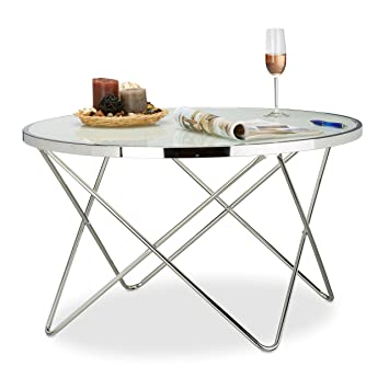 Relaxdays Table D Appoint Verre Depoli Large Table De Salon Bout
