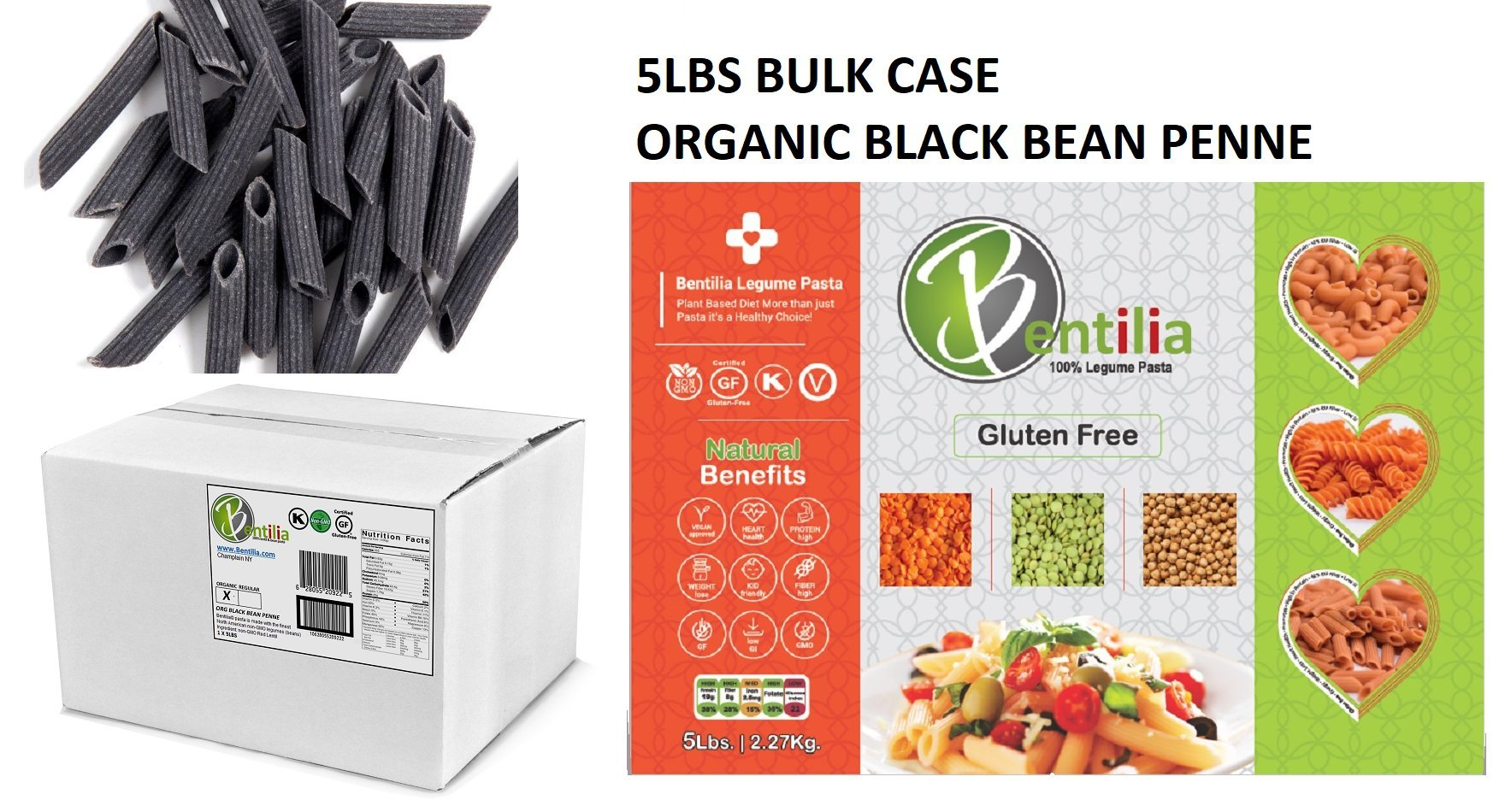 Bentilia Organic Gluten-free Black Bean Pasta, Penne Organic, 5 lb Bulk Case - 100% Natural, Low Glycemic Index, High Protein & Fiber, Non-GMO, Kosher Pasta by Bentilia