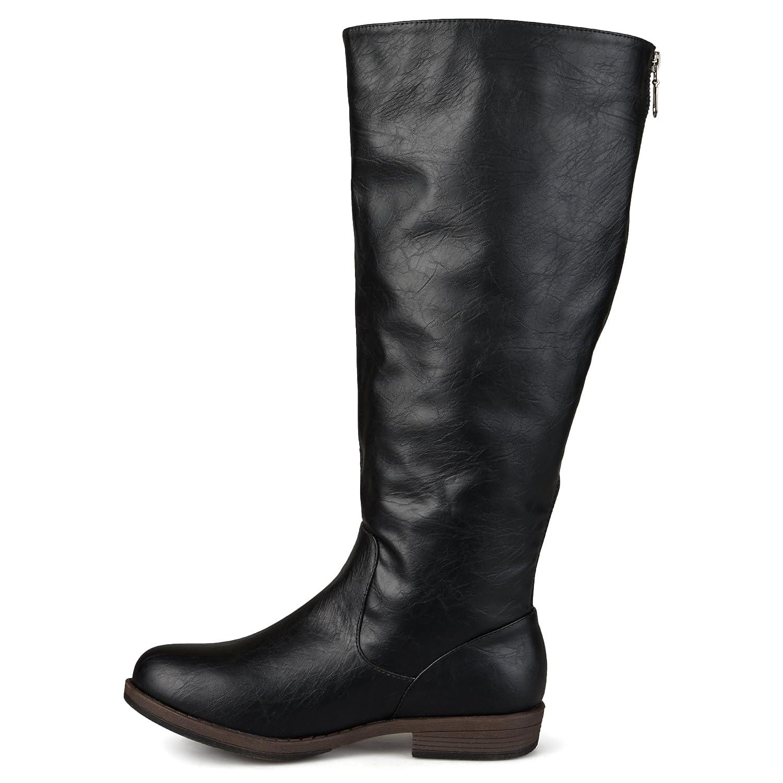 Journee Collection Bota de montar a media pierna con hebilla ancha y ancho  de becerro para mujer Negro ef5c9fae2a289
