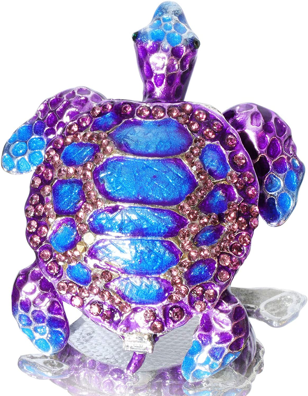 Waltz&F Purple Sea Turtle Figurine Collectible Hinged Trinket Box Bejeweled Hand-painted Ring Holder
