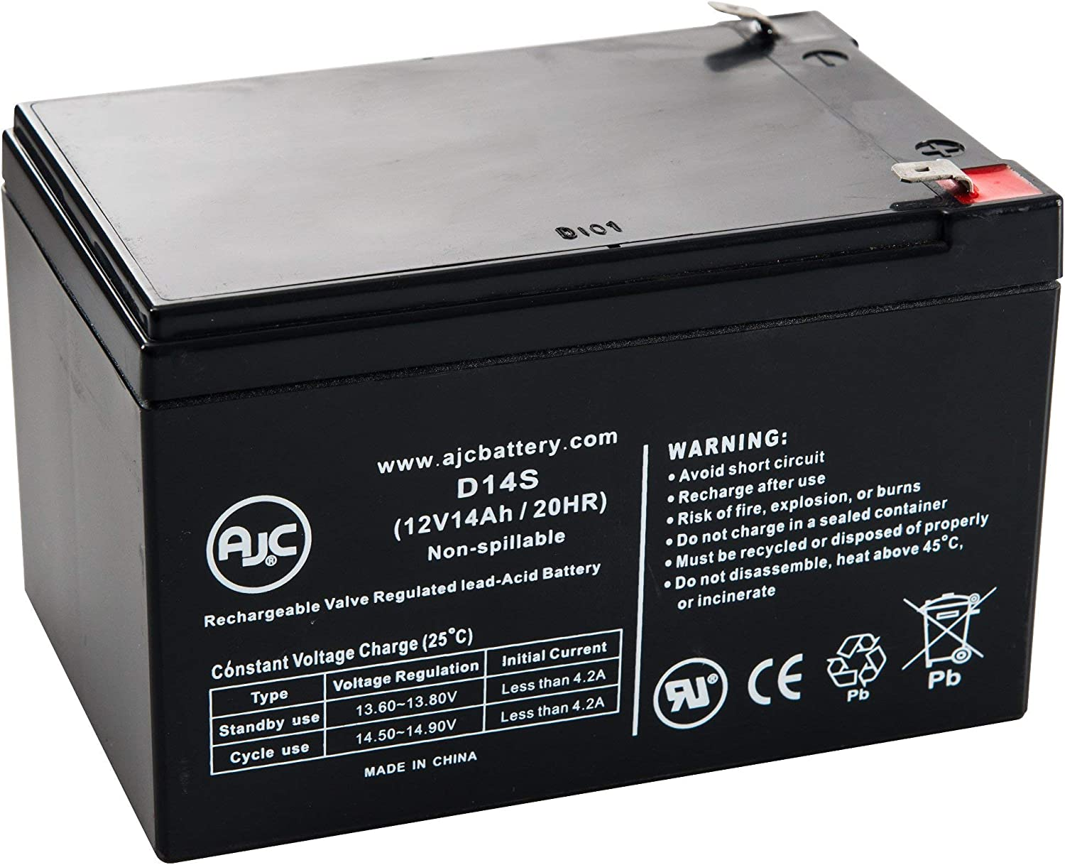 This is an AJC Brand Replacement APC SmartUPS RM SU1400RM2U 12V 14Ah UPS Battery