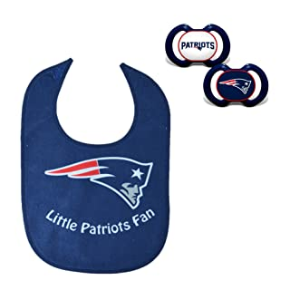 Official NFL Fan Shop Authentic Baby Pacifier and Bib Bundle Set. Start Out Early in Joining The Fan Club and Show Support for Your Favorite Football Team (New England Patriots)