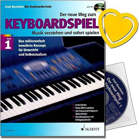 El nuevo camino al juego de teclado, escuela de teclado, Axel Benthien, con CD, pinza para partituras en forma de corazón