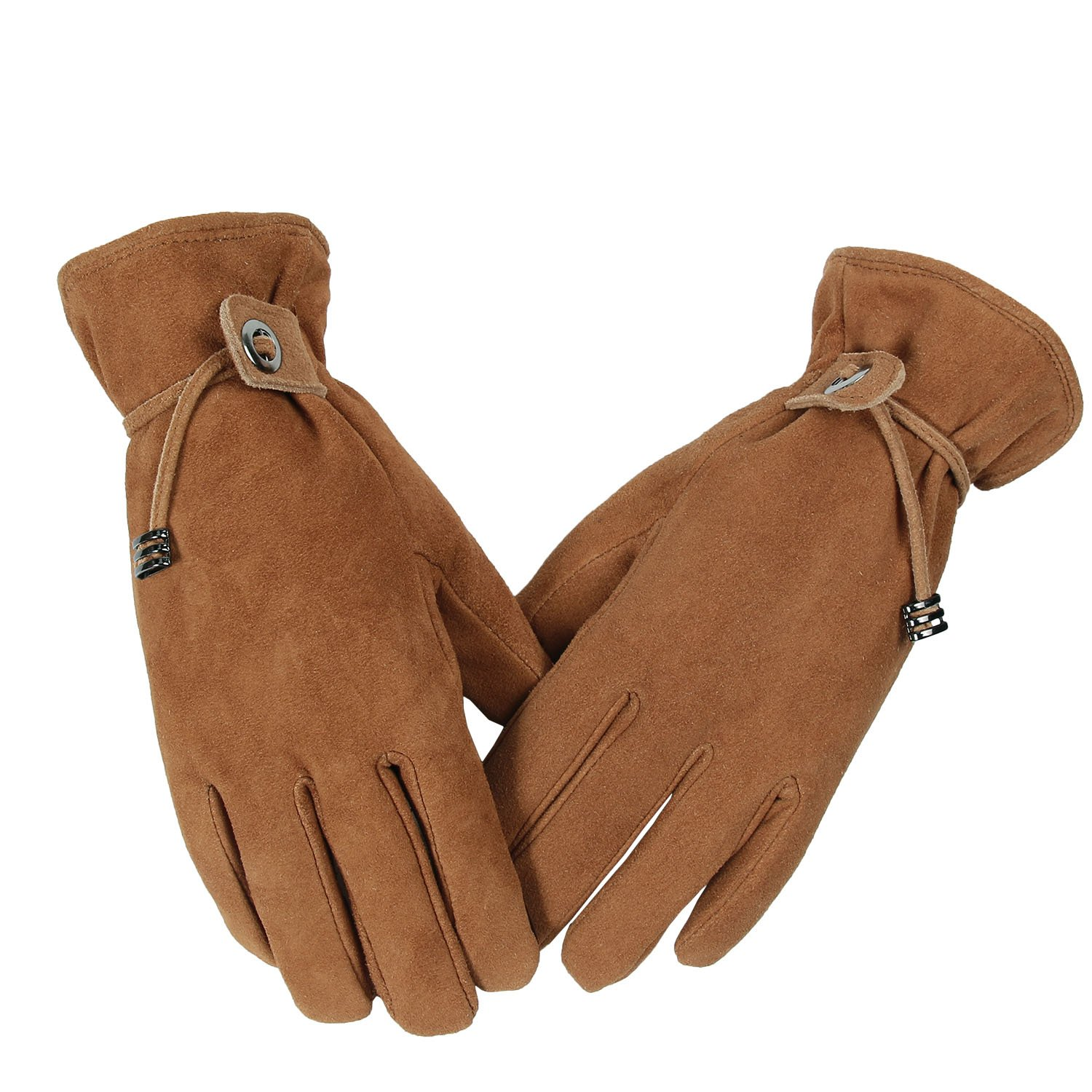 OZERO Driving Gloves, Deerskin Suede Leather Winter Snow Ski Fashion Glove - Sensitive Touch Screen Fingertips Silky Velour Fleece Lining - Warm Hand in Cold Weather Womens/Girls (Brown,Large)
