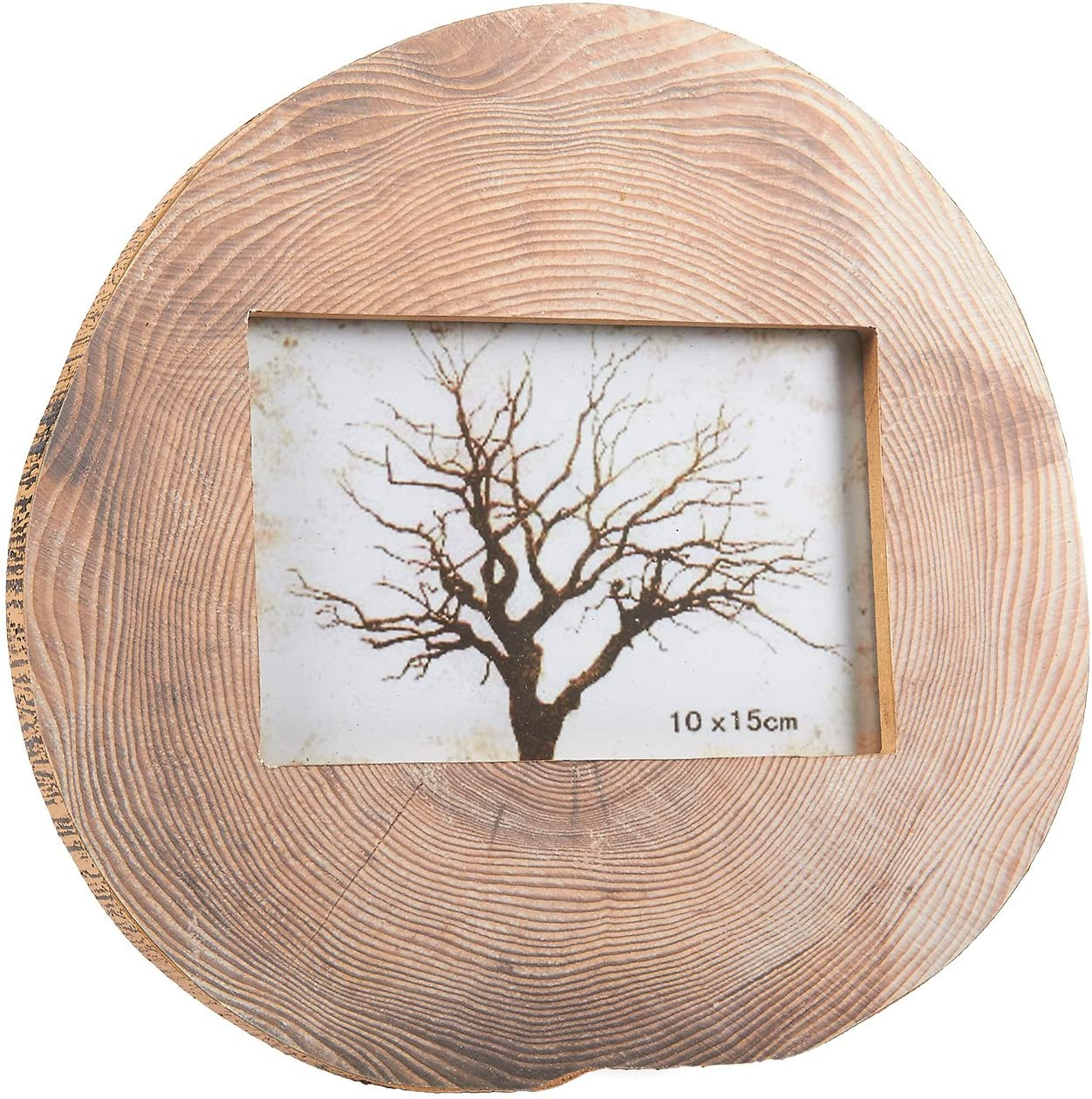 Round Wood Photo Frame - Horizontal Stand Picture Frame Tree Trunk Rings Designed Pattern for Desk Table Top, Home, Office and all Occasions Decoration, holds 4 x 6 Photo, 9.25 x 8.75 x 0.5 inches