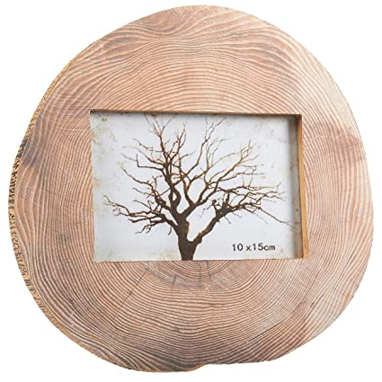 amazon com round wood photo frame horizontal stand picture frame