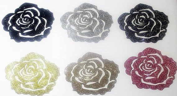 Motiv Schwarze Rose 7/cm Patch Flex zum Aufb/ügeln Silver Glitter Hotfix angewendet.