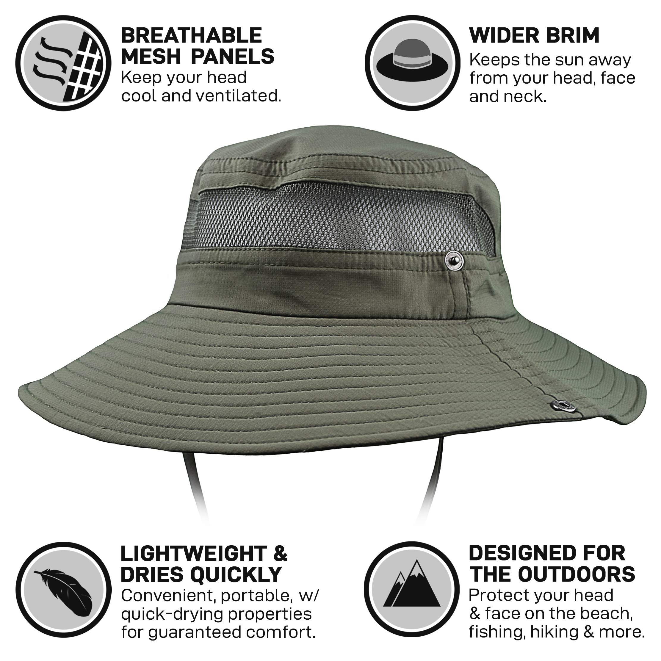GearTOP Fishing Hat and Safari Cap with Sun Protection | Premium Hats for Men and Women (Army Green - 2 Pack) by GearTOP (Image #4)