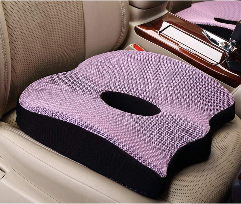 Uhealer Premium Comfort Seat Cushion Non-Slip Orthopedic Memory Foam Coccyx Cushion for Tailbone Pain Cushion for Office Chair Car Seat Back Pain Sciatica Relief Gel Seat Cushion Purple